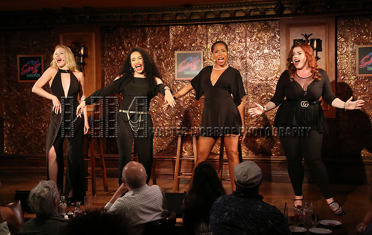 Emma Degerstedt, Nicole Vanessa Ortiz, Dionne D. Figgins and Alysha Umphress during the Press Preview Presentation for the new production of 'Smokey Joe's Cafe' at Feinstein's/54 Below on June 27, 2018 in New York City.