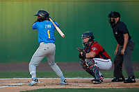 Myrtle Beach Pelicans Delvin Zinn (1) at bat in front of catcher Jakson Reetz and umpire Josh Gilreath during a Carolina League game against the Potomac Nationals on August 14, 2019 at Northwest Federal Field at Pfitzner Stadium in Woodbridge, Virginia.  Potomac defeated Myrtle Beach 7-0.  (Mike Janes/Four Seam Images)