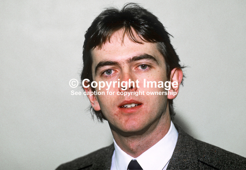 Adrian Colton, SDLP, Social Democratic & Labour Party candidate, Mid-Ulster, by-election, January 1986. Barrister who later became QC. 19851203AC..Copyright Image from Victor Patterson, 54 Dorchester Park, Belfast, United Kingdom, UK...For my Terms and Conditions of Use go to http://www.victorpatterson.com/Victor_Patterson/Terms_%26_Conditions.html