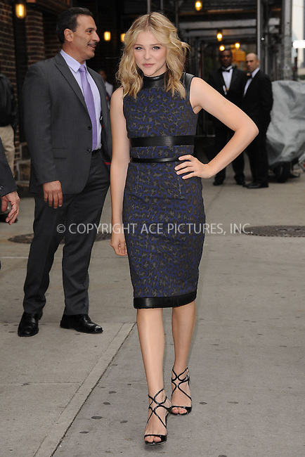 WWW.ACEPIXS.COM . . . . . .May 3, 2012...New York City....Chloë Grace Moretz tapes  an appearance on the Late Show with David Letterman on May 3, 2012  in New York City....Please byline: KRISTIN CALLAHAN - ACEPIXS.COM.. . . . . . ..Ace Pictures, Inc: ..tel: (212) 243 8787 or (646) 769 0430..e-mail: info@acepixs.com..web: http://www.acepixs.com .