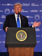 Washington, DC  - October 13, 2017: U.S. President Donald Trump addresses conservatives attending the Values Voter Summit hosted by the Family Research Council at the Omni Shoreham Hotel in Washington, D.C., October 13, 2017  (Photo by Don Baxter/Media Images International)