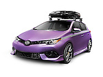 Purple 2016 Scion iM now 2017 Toyota Corolla iM affordable small city car with roof rack cargo box isolated on white background with clipping path