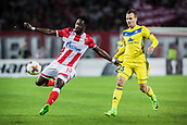 14th September 2017, Red Star Stadium, Belgrade, Serbia; UEFA Europa League Group stage, Red Star Belgrade versus BATE; Forward Richmond Boakye of Red Star Belgrade clears the ball upfield