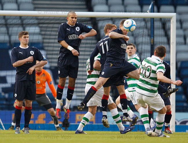 Anthony Stokes fires his free-kick over the Falkirk wall for Celtic's second goal