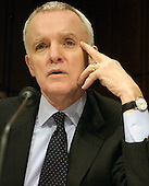 Washington, D.C. - March 24, 2004 -- Former United States Senator Bob Kerrey (Democrat of Nebraska), member, The National Commission on Terrorist Attacks Upon the United States (the 9-11 Commission), questions Sandy Berger during the hearing in Washington, D.C. on March 24, 2004.<br /> Credit: Ron Sachs / CNP<br /> [RESTRICTION: No New York Metro or other Newspapers within a 75 mile radius of New York City]