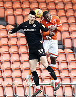Barnsley's Kieffer Moore vies for possession with Blackpool's Donervon Daniels<br /> <br /> Photographer Rich Linley/CameraSport<br /> <br /> The EFL Sky Bet League One - Blackpool v Barnsley - Saturday 22nd December 2018 - Bloomfield Road - Blackpool<br /> <br /> World Copyright &copy; 2018 CameraSport. All rights reserved. 43 Linden Ave. Countesthorpe. Leicester. England. LE8 5PG - Tel: +44 (0) 116 277 4147 - admin@camerasport.com - www.camerasport.com