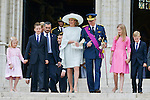 Prince Emmanuel, Princess Eleonore, Prince Gabriel, Crown Princess Elisabeth, Queen Mathilde of Belgium and King Philippe - Filip of Belgium pictured after the Te Deum mass, on the occasion of today's Belgian National Day, at the Saint Michael and St Gudula Cathedral<br /> Brussels, 21 July 2015, Belgium