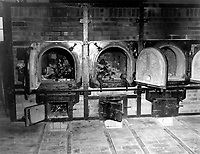 Bones of anti-Nazi German women still are in the crematoriums in the German concentration camp at Weimar, Germany, taken by the 3rd U.S. Army.  Prisoners of all nationalities were tortured and killed.  April 14, 1945.  Pfc. W. Chichersky.  (Army)<br /> NARA FILE #:  111-SC-203461<br /> WAR & CONFLICT BOOK #:  1122