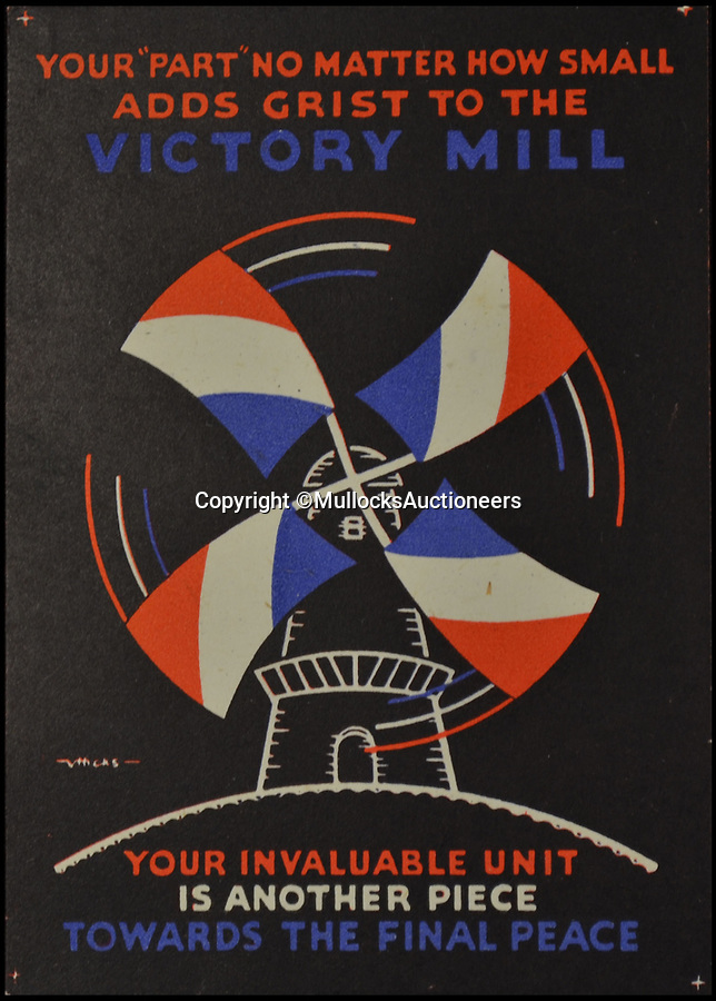 BNPS.co.uk (01202 558833)Pic: MullocksAuctioneers/BNPS<br /> <br /> Whistle while you work...<br /> <br /> A fascinating set of Second World War propaganda cards have come to light which spell out in no uncertain terms how absentee workers were 'letting their country down'.<br /> <br /> The hard-hitting cards describe not turning up to work as 'inexcusable' and 'throwing a life line to Hitler'. <br /> <br /> Others praise diligent factory workers for their 'incredibly good show', urging them to 'keep up production and down Hitler'.