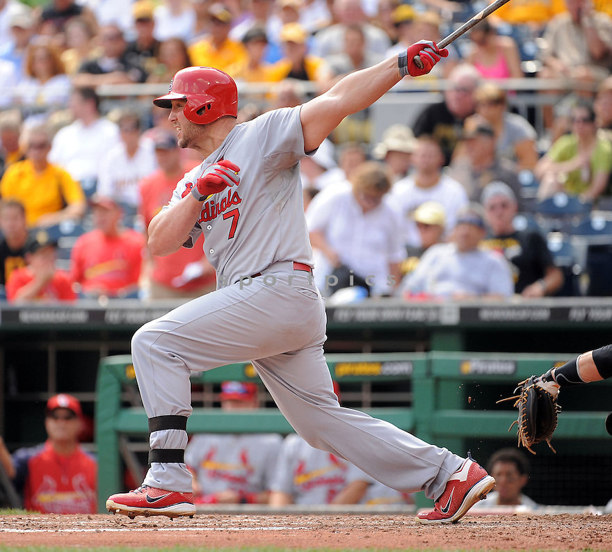 St. Louis Cardinals Matt Holliday (7) during a game against the Pittsburgh Pirates on August 27, 2014 at PNC Park in Pittsburgh PA. The Pirates beat the Cardinals 3-1.