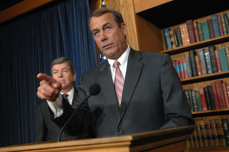 House Minority Leader John Boehner, R-Ohio, conducts a news conference on the democrat's Omnibus spending bill as House Minority Whip Roy Blunt, R-Mo., looks on.
