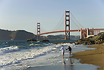 San Francisco: Baker Beach with Golden Gate Bridge in background.  Photo # 2-casanf83498.  Photo copyright Lee Foster