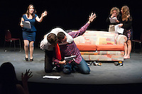 """Dress rehearsal for the New Play Festival 2012 play """"Three-Year Glitch"""" by Kirsten Easton '13, directed by Michael Sargent, on Friday, February 24, 2012 in Keck Theater on the Los Angeles campus of Occidental College. (Photo by Marc Campos, Occidental College Photographer)"""