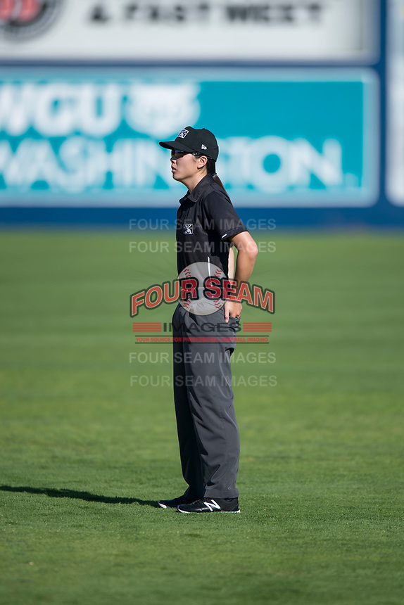 Field umpire Emma Charlesworth-Seiler during a Northwest League game between the Vancouver Canadians and the Spokane Indians at Avista Stadium on September 2, 2018 in Spokane, Washington. The Spokane Indians defeated the Vancouver Canadians by a score of 3-1. (Zachary Lucy/Four Seam Images)