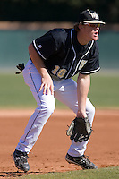 Allan Dykstra (10) of the Wake Forest Demon Deacons on defense versus the Clemson Tigers during the first game of a double header at Gene Hooks Stadium in Winston-Salem, NC, Sunday, March 9, 2008.
