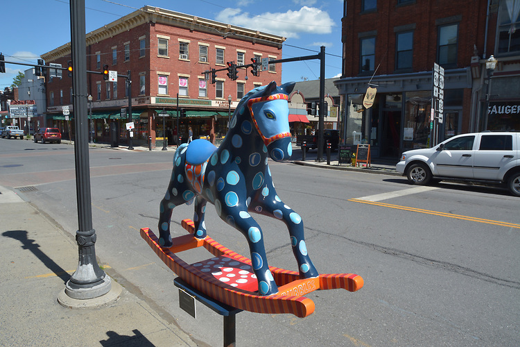 """A view of """"Bubbles"""" created by artist, P.A. Morrow, one of the """"Rockin' Around Saugerties"""" theme Statues on display throughout the Village of Saugerties, NY, on Saturday, June 3, 2017. Photo by Jim Peppler. Copyright/Jim Peppler-2017."""