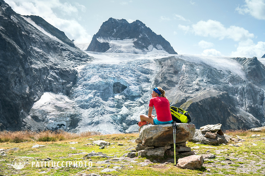 The Chamonix to Zermatt Glacier Haute Route. In late August 2017, we ran the tour in mountain running gear, running shoes, and all the necessary glacier travel and crevasse rescue gear. Taking a break while on the way to the Bertol Hut.