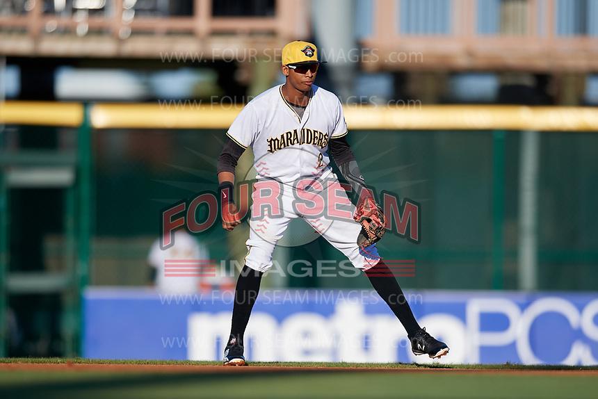 Bradenton Marauders second baseman Alfredo Reyes (2) during a game against the Tampa Tarpons on April 25, 2018 at LECOM Park in Bradenton, Florida.  Tampa defeated Bradenton 7-3.  (Mike Janes/Four Seam Images)