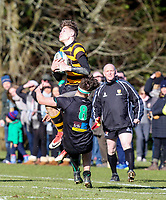 Saturday 17th February 2018   RBAI vs Sullivan<br /> <br /> Jude Postlethwaite is taken out in the air during the Ulster Schools' Cup Quarterfinal between RBAI and Sullivan at Cranmore Park, Belfast, Northern Ireland. Photo by John Dickson / DICKSONDIGITAL