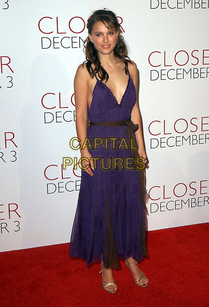 """NATALIE PORTMAN.Attends The Columbia Pictures' Premiere of """"Closer"""" held at The Mann Village Theatre in Westwood, California, USA, November 22nd 2004.full length purple floaty chiffon dress brown belt sash ribbon bow tied.Ref: DVS.www.capitalpictures.com.sales@capitalpictures.com.©Debbie VanStory/Capital Pictures ."""