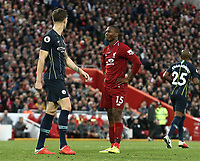 Liverpool's Daniel Sturridge rues his failure to get enough power on a headed effort to trouble Manchester City's Ederson<br /> <br /> Photographer Rich Linley/CameraSport<br /> <br /> The Premier League - Liverpool v Manchester City - Sunday 7th October 2018 - Anfield - Liverpool<br /> <br /> World Copyright &copy; 2018 CameraSport. All rights reserved. 43 Linden Ave. Countesthorpe. Leicester. England. LE8 5PG - Tel: +44 (0) 116 277 4147 - admin@camerasport.com - www.camerasport.com