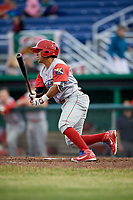 Williamsport Crosscutters second baseman Jesus Azuaje (3) grounds out during a game against the Batavia Muckdogs on June 22, 2018 at Dwyer Stadium in Batavia, New York.  Williamsport defeated Batavia 9-7.  (Mike Janes/Four Seam Images)