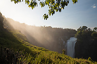 View of the Devil's Cateract waterfall at the famous Victoria Falls.