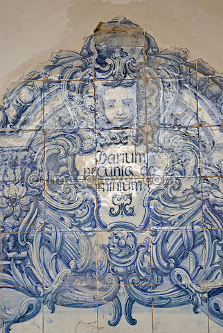 "Brazil, Bahia, Salvador: Azulejo, a portuguese ceramic tilework, in the church Igreja e Convento de São Francisco illustrating the saying ""insecure e o domino do dinheiro"" (uncertain is the rule of wealth, unsicher ist die herrschaft des geldes, edomain de l'argent n'est jamais sur). --- No signed releases available."