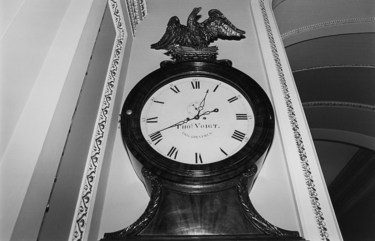 The Ohio Clock stands just across from the Senate Chamber entrance 2nd floor on Capitol Hill, in April 1996. (Photo by Maureen Keating/CQ Roll Call via Getty Images)