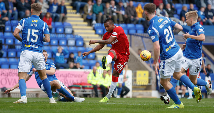 22.09.2019 St Johnstone v Rangers: Alfredo Morelos surrounded by blue shirts