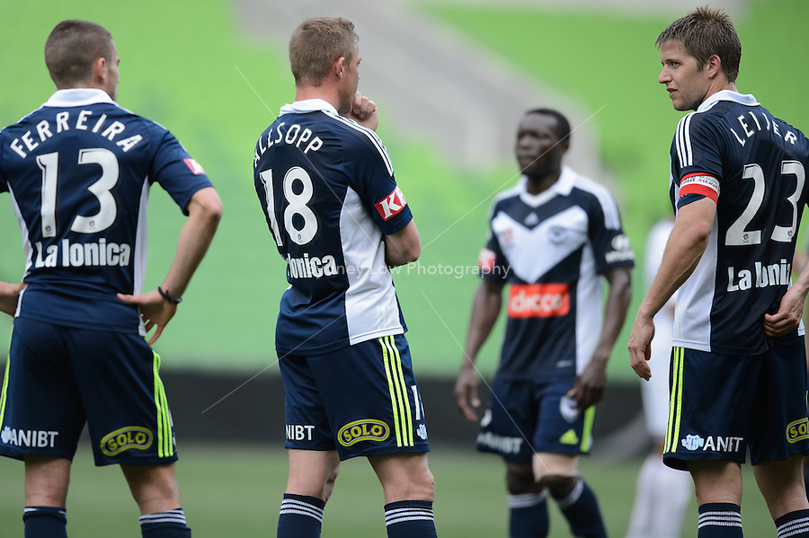 MELBOURNE - 19 September: Diogo FERREIRA, Daniel ALLSOPP and Adrian LEIJER of the Victory reflect after a pre-season match between Melbourne Victory and Perth Glory at AAMI Stadium on 19 September 2012. (Photo by Sydney Low / syd-low.com)