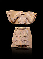 Minoan Postpalatial terracotta  goddess tablet with raised arms, Kannia Sanctuary,  Gortys, 1350-1250 BC, Heraklion Archaeological Museum, black background. <br /> <br /> The Goddesses are crowned with symbols of earth and sky in the shapes of snakes and birds, describing attributes of the goddess as protector of nature.