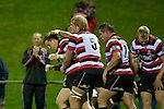 Jamie Chipman celebrates with try scorer Mark Selwyn. ITM Cup rugby game between Counties Manukau and Manawatu played at Bayer Growers Stadium on Saturday August 21st 2010..Counties Manukau won 35 - 14 after leading 14 - 7 at halftime.