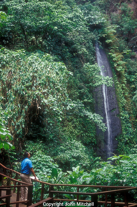 Person looking up at a waterfall in the Cocoyero El Brujo Nature Reserve near Managua, Nicaragua.
