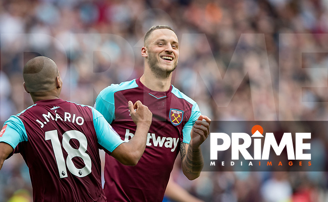 Marko Arnautovic of West Ham celebrates his goal during the Premier League match between West Ham United and Everton at the Olympic Park, London, England on 13 May 2018. Photo by Andy Rowland / PRiME Media Images.