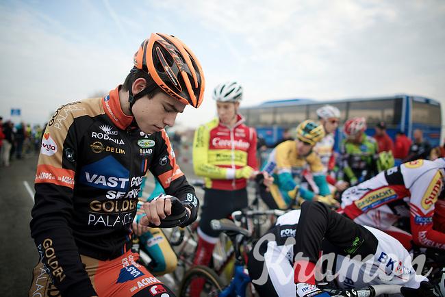 Wout Van Aert (BEL/Vastgoedservice-Golden Palace) checks the minutes to the start<br /> <br /> Koksijde CX World Cup 2014