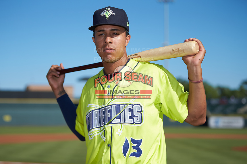 Columbia Fireflies third baseman Mark Vientos (13) poses for a photo prior to the game against the Rome Braves at Segra Park on May 13, 2019 in Columbia, South Carolina. The Fireflies walked-off the Braves 2-1 in game one of a doubleheader. (Brian Westerholt/Four Seam Images)