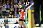 Rüsselsheim, Germany, April 13: Dominique Lamb #2 of the Rote Raben Vilsbiburg tries to block a shot during play off Game 1 in the best of three series in the semifinal of the DVL (Deutsche Volleyball-Bundesliga Damen) season 2013/2014 between the VC Wiesbaden and the Rote Raben Vilsbiburg on April 13, 2014 at Grosssporthalle in Rüsselsheim, Germany. Final score 0:3 (Photo by Dirk Markgraf / www.265-images.com) *** Local caption ***