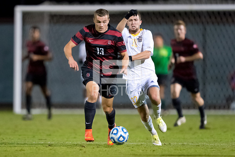 STANFORD, CA - November 23, 2014: Jordan Morris during the Stanford vs UC Irvine NCAA first round tournament men's soccer match in Stanford, California.  The Anteaters defeated the Cardinal in overtime 1-0.