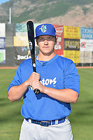 Austin Cowen (7) of the Ogden Raptors poses for a photo during media day on June 14, 2014 at Lindquist Field in Ogden, Utah. (Stephen Smith/Four Seam Images)
