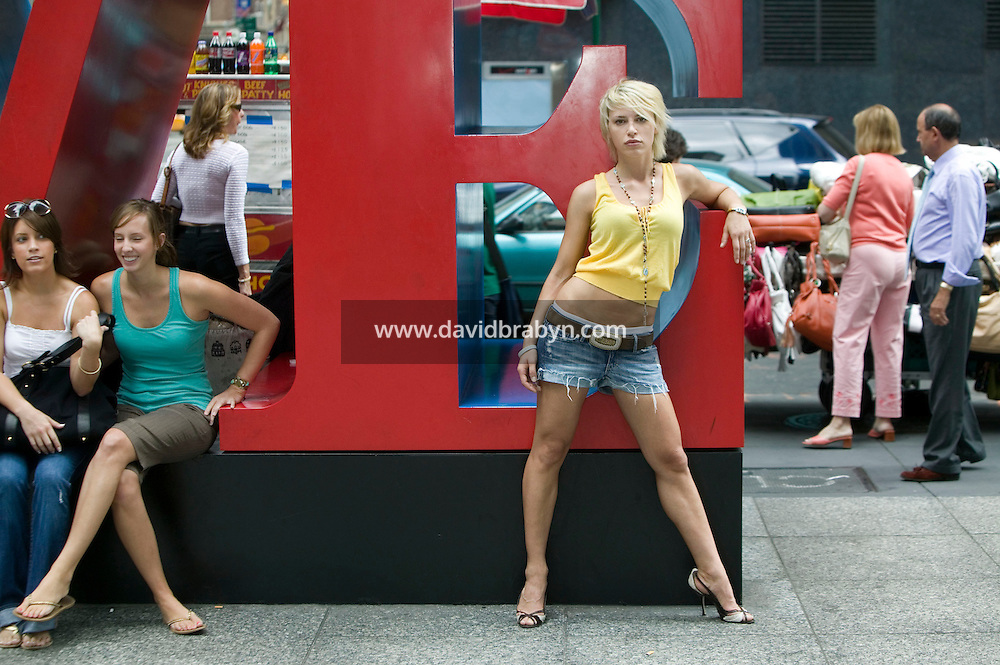 Model, TV personality and yoga teacher Aria Crescendo visits New York City, USA, 19 August 2006.