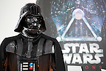 A life size statue of Darth Vader on display during the exhibition Star Wars Vision at the Tokyo City View Sky Gallery in Roppongi Hills on April 28, 2015, Tokyo, Japan. The exhibition is divided into six themed areas (Original, Force, Battle, Saga, Galaxy and Droid) located in different halls, and visitors can see models of the battle spaceships, life-size statues of the principal characters and Jedi weapons from the movies. The exhibition also introduces 60 art pieces and 100 movie props. It will open to the public from April 29th to June 28th. (Photo by Lucasfilm/Rodrigo Reyes Marin/AFLO)