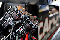 Jun. 29, 2012; Joliet, IL, USA: Detailed view of the dual magnetos on the car of NHRA top fuel dragster driver Steve Torrence during qualifying for the Route 66 Nationals at Route 66 Raceway. Mandatory Credit: Mark J. Rebilas-