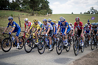 Team Deceuninck-Quickstep, with yellow jersey / GC leader Julian Alaphilippe (FRA/Deceuninck - Quick-Step) also on the front row, blocking the road up Mur d'Aurec-sur-Loire (3.2km at 10.8%) and allowing the breakaway group to go<br /> <br /> Stage 9: Saint-Étienne to Brioude (170km)<br /> 106th Tour de France 2019 (2.UWT)<br /> <br /> ©kramon