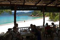 Seychelles, Island Mahe, Anse Soleil: Cafe Soleil, beach, southwest coast