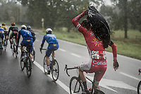 Kenneth Vanbilsen (BEL/Cofidis) getting his rain-jacket on<br /> <br /> Tour de l'Eurom&eacute;tropole 2016 (1.1)<br /> Poperinge &rsaquo; Tournai (196km)/ Belgium