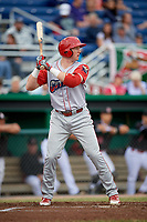 Williamsport Crosscutters first baseman Danny Mayer (34) at bat during a game against the Batavia Muckdogs on June 22, 2018 at Dwyer Stadium in Batavia, New York.  Williamsport defeated Batavia 9-7.  (Mike Janes/Four Seam Images)