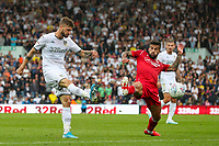 Leeds United's Mateusz Klich crosses under pressure from Nottingham Forest's Yuri Ribeiro<br /> <br /> Photographer Alex Dodd/CameraSport<br /> <br /> The EFL Sky Bet Championship - Leeds United v Nottingham Forest - Saturday 10th August 2019 - Elland Road - Leeds<br /> <br /> World Copyright © 2019 CameraSport. All rights reserved. 43 Linden Ave. Countesthorpe. Leicester. England. LE8 5PG - Tel: +44 (0) 116 277 4147 - admin@camerasport.com - www.camerasport.com