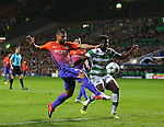 Sergio Aguero of Manchester City gets in front of Kolo Toure of Celtic to direct the ball goal wards during the Champions League Group C match at the Celtic Park Stadium, Glasgow. Picture date: September 28th, 2016. Pic Simon Bellis/Sportimage