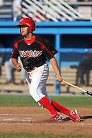Batavia Muckdogs first baseman Victor Sanchez (14) during the first game of a double header vs. the Connecticut Tigers at Dwyer Stadium in Batavia, New York July 10, 2010.   Batavia defeated Connecticut 5-3.  Photo By Mike Janes/Four Seam Images
